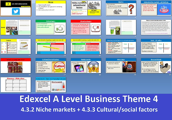Edexcel A Level Business Theme 4 - 4.3.2 4.3.3Niche markets + Cultural factors