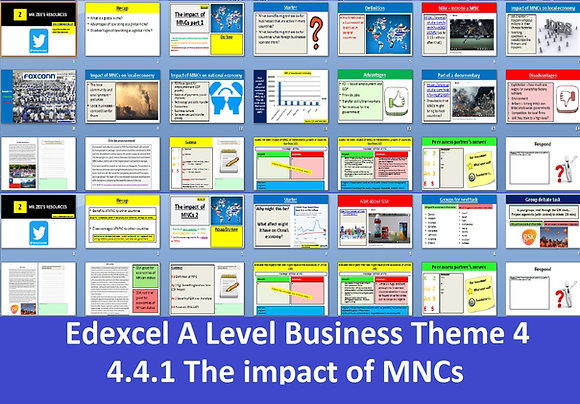Edexcel A Level Business Theme 4 - 4.4.1 The impact of MNCs