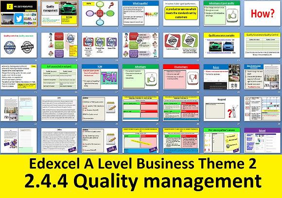 2.4.4 Quality management - Theme 2 Edexcel A Level Business