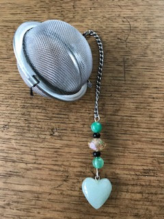 "Crystal Aventurine Charm - 2"" Tea Infuser Mesh Ball"
