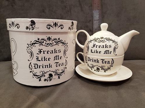 Freaks Like Me Drink Tea Teapot Set