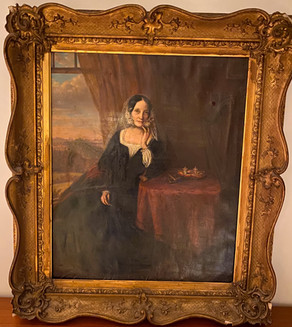 Early Victorian painting - Woman in mourning with harp