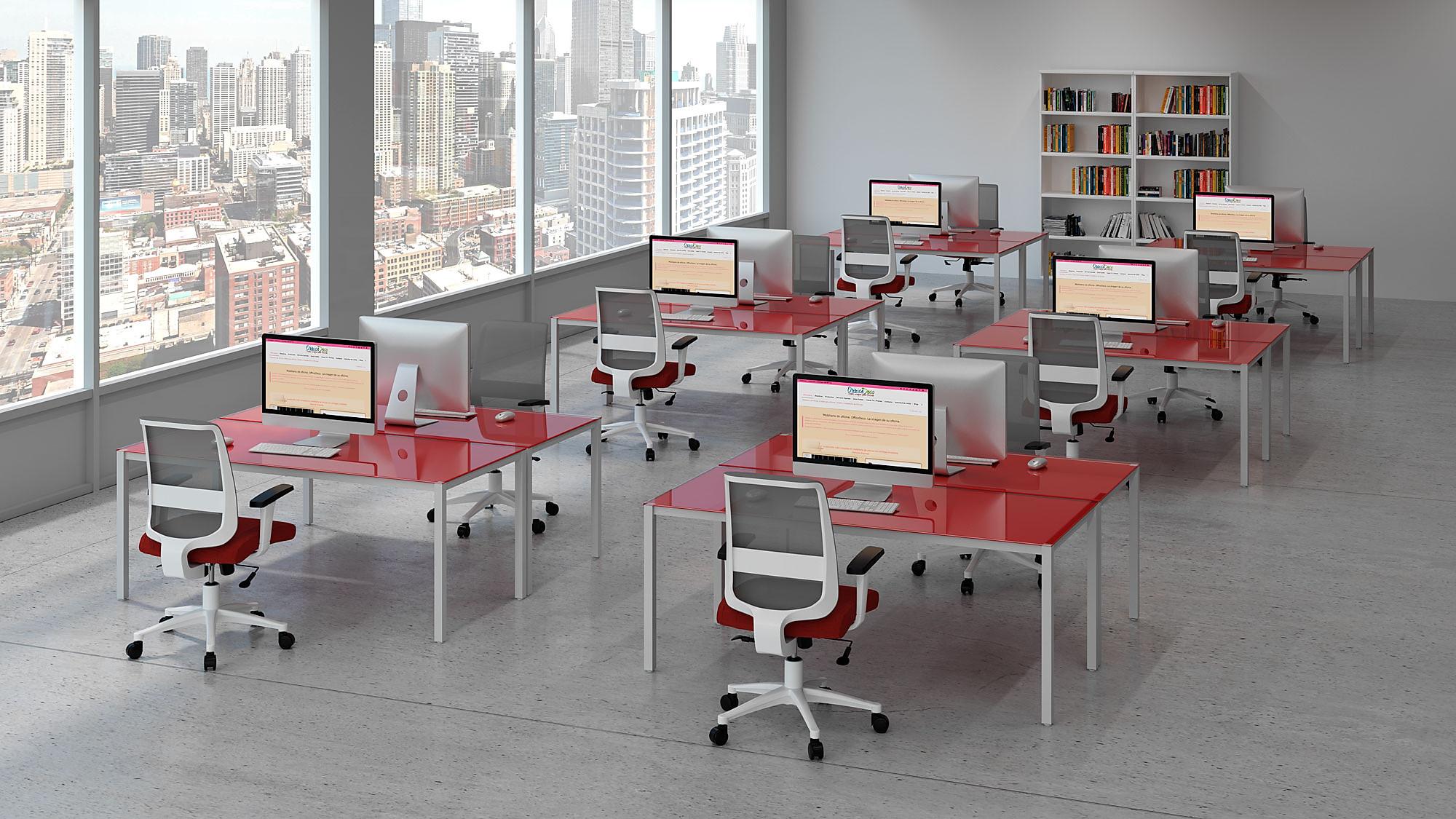 infografías 3d mesas oficina