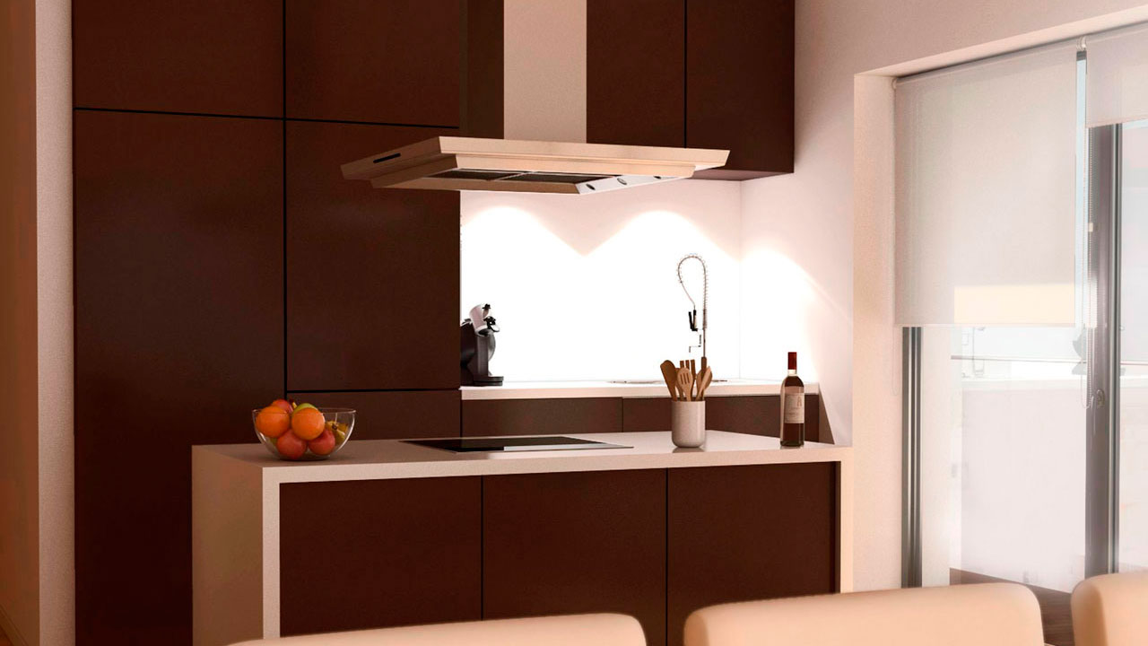Imagen 3D interior cocina