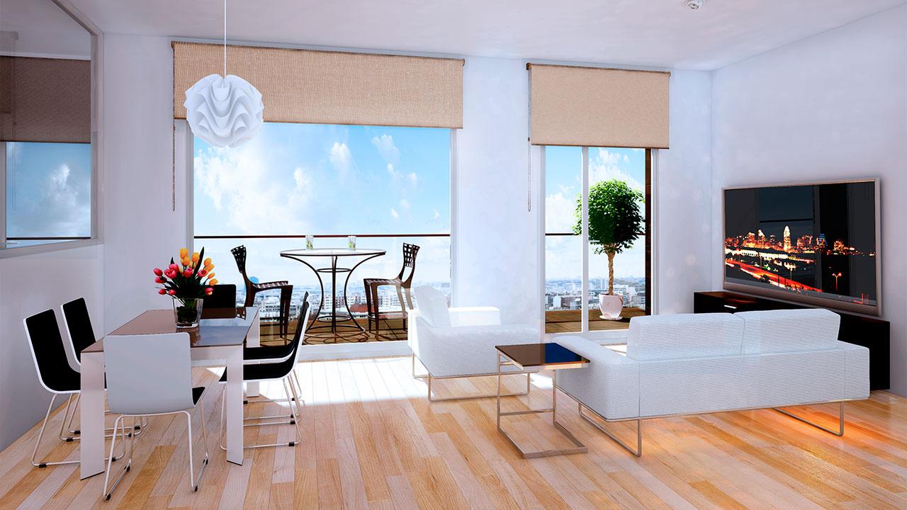 Infografía 3D salón moderno