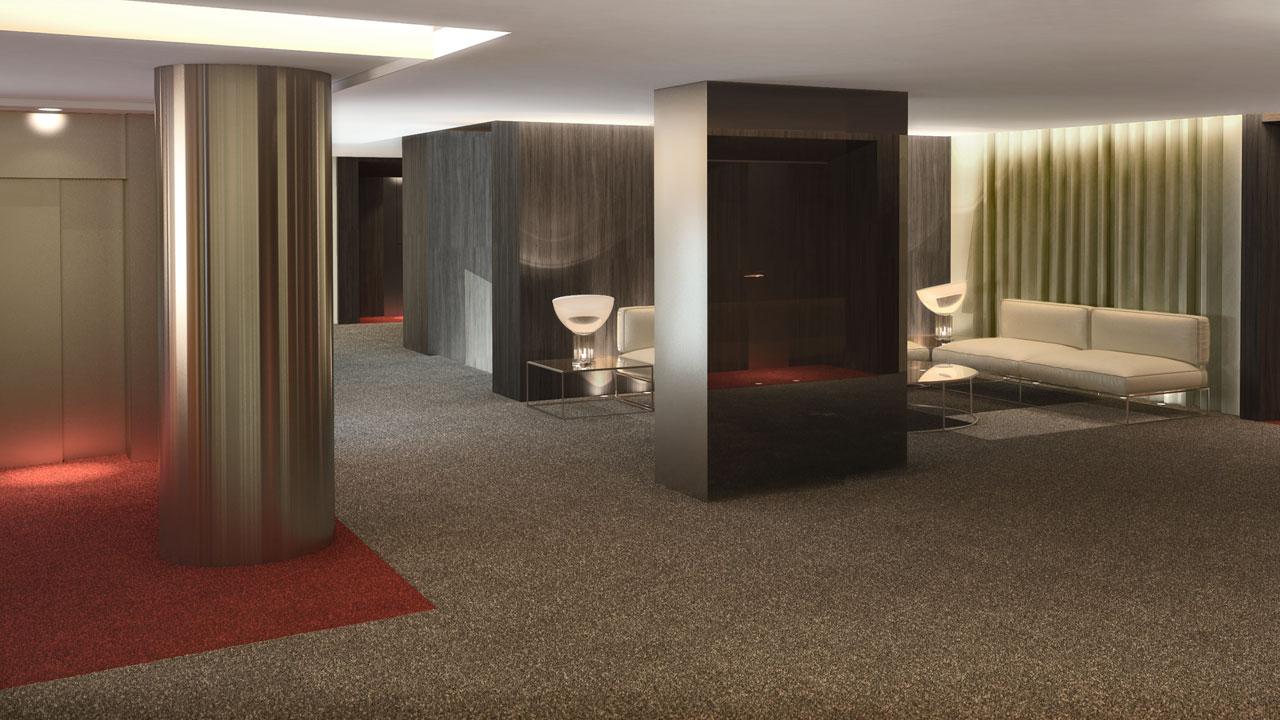 Infografía 3D sala hotel