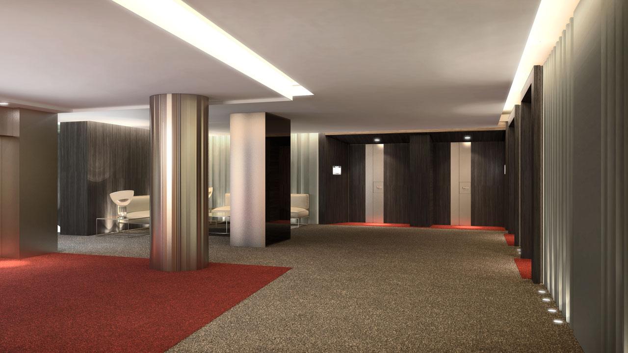 Infografía 3D hall hotel
