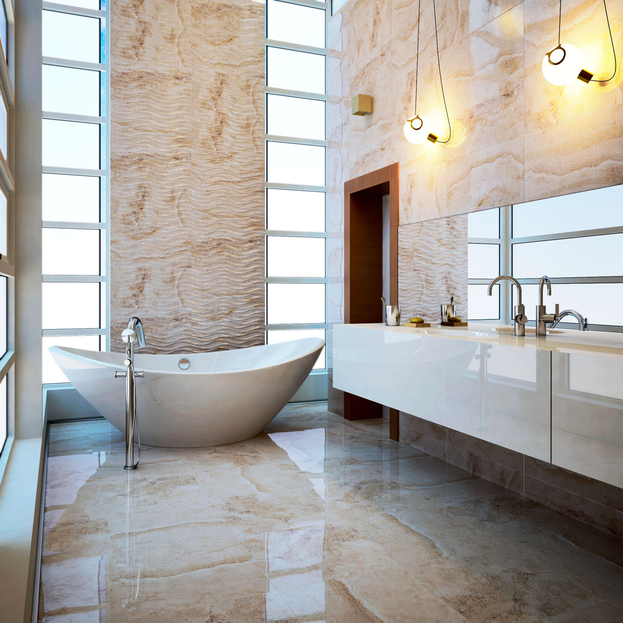 Ambiente 3D de baño