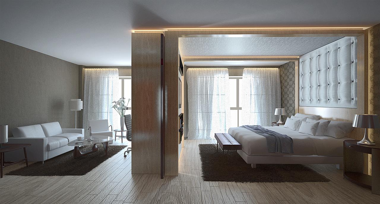 Infografía 3D vista suit hotel
