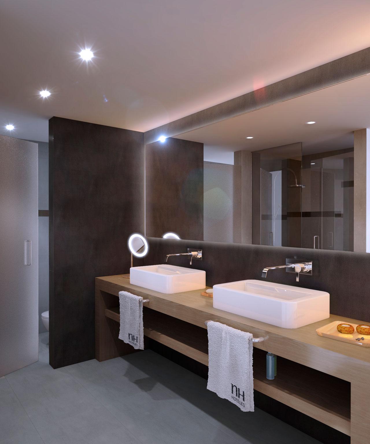 Infografía 3D baño hotel