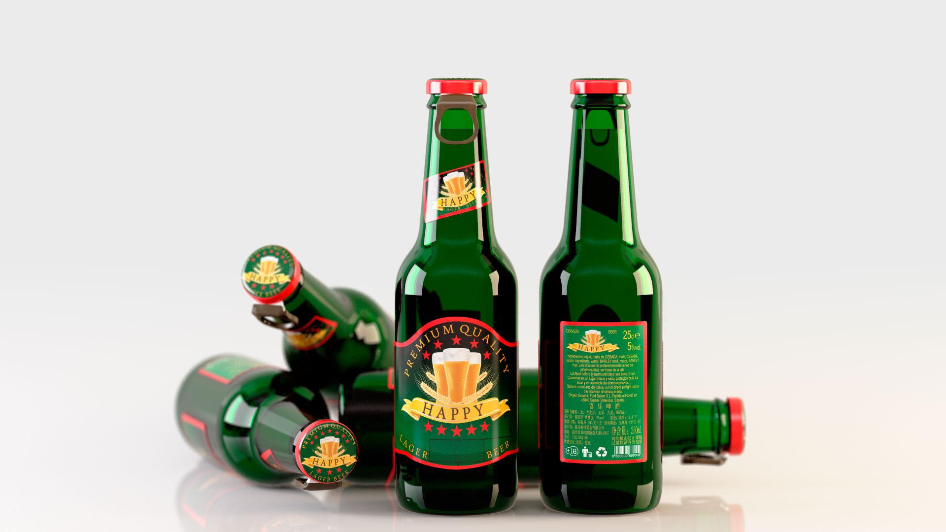 Infografía 3D Botella verde cerveza