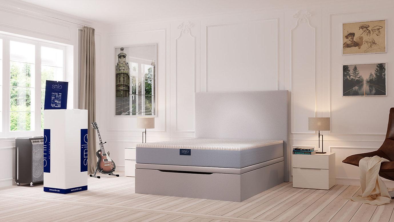Infografía 3D ambiente dormitorio luz día