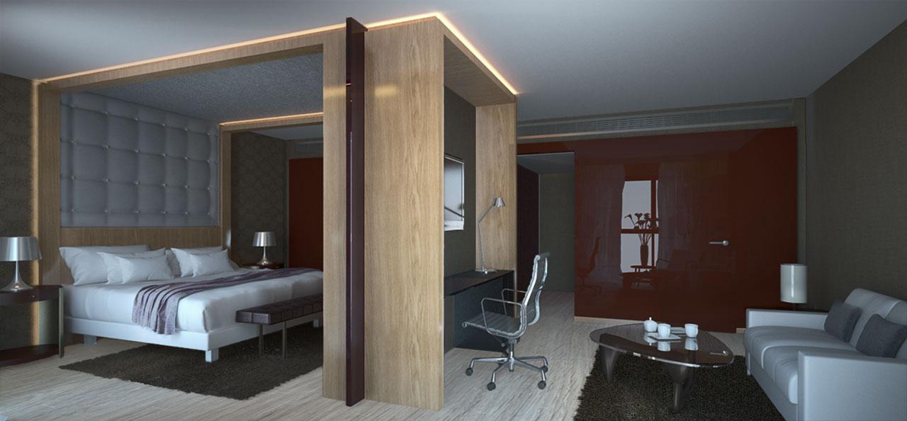 Infografía 3D habitación hotel