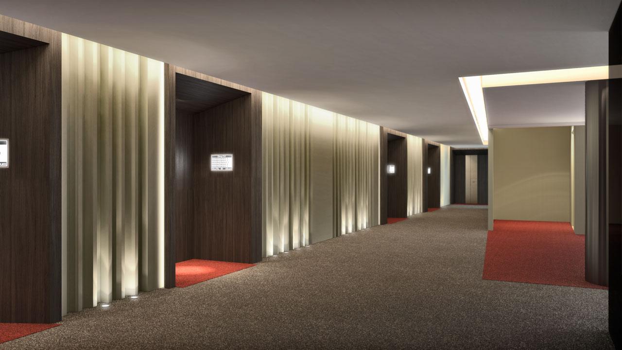 Infografía 3D pasillo hotel