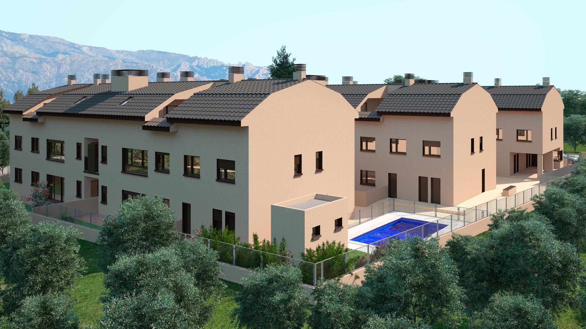 Infografía urbanización con piscina