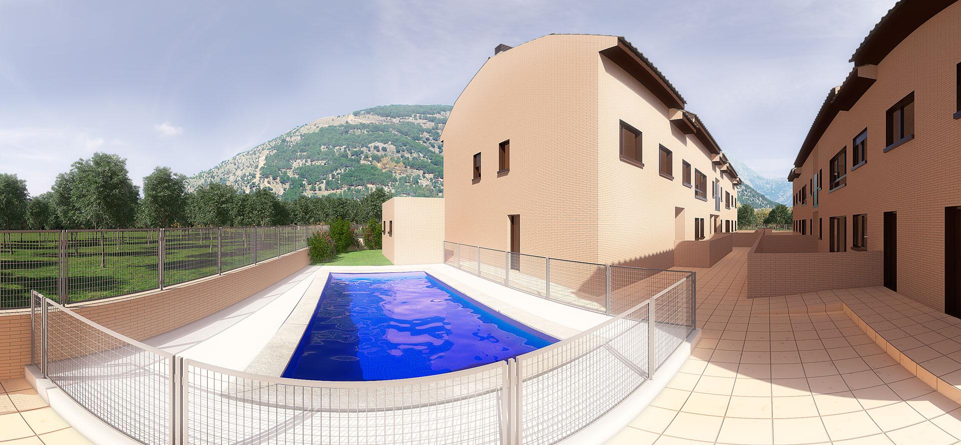 Infografía 3D Panorámica piscina
