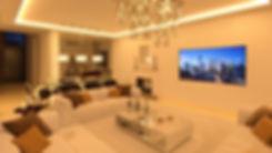 renders 3D salón noche