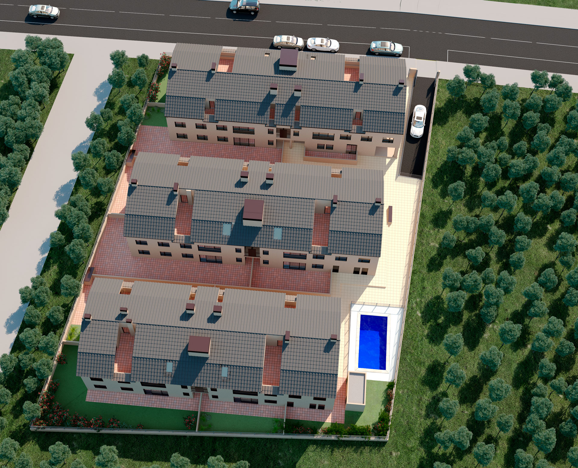 Render 3D vista aérea