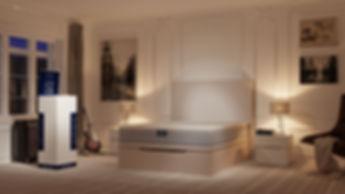 Infografía 3D ambiente dormitorio luz noche