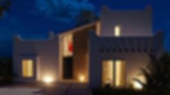renders 3D fachada noche