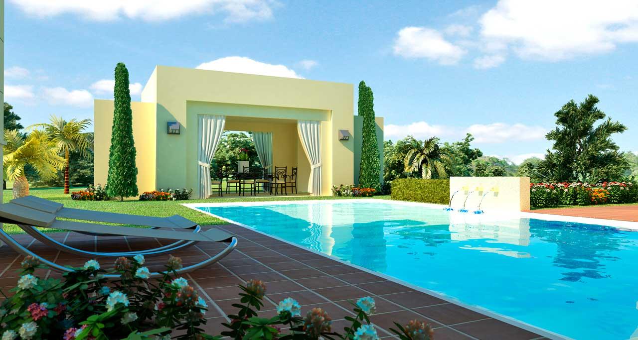 Infografía 3D villa piscina