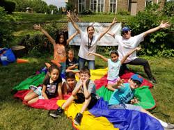 Celebrating Summer Camp outside at Spanish4you!