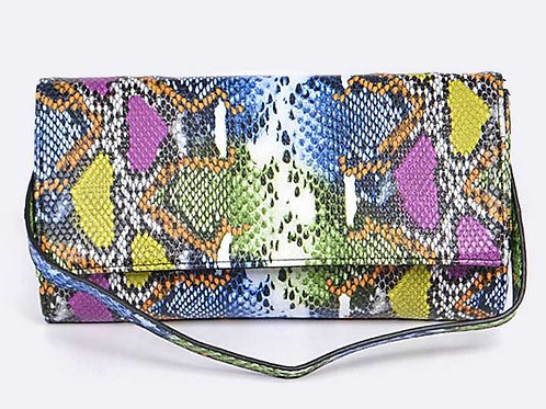 Colorful Snake Print Clutch