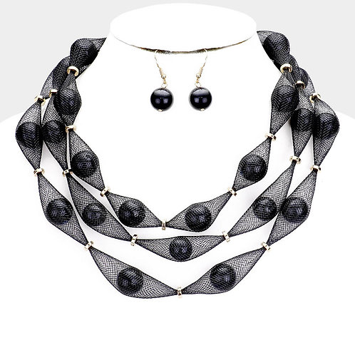 Black Pearl Mesh Necklace