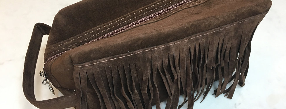 Vegan Suede Bag with Fringe