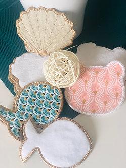 Lingettes lavables en coton et éponge bambou