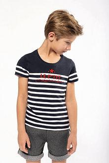 "T-shirt marin col rond Bio ""Les enfants Lorrains"""