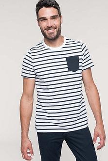 K378 - T-shirt rayé marin avec poche manches courtes
