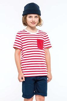 K379 - T-shirt rayé marin avec poche manches courtes enfant
