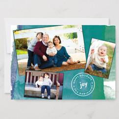 Joyful Watercolor 3-Photo Holiday Card