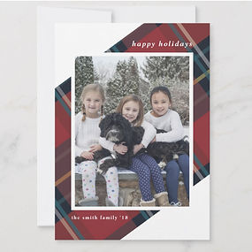 Plaid photo holiday card by Parcel Studios