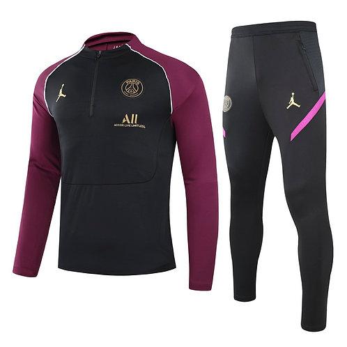 PSG Paris Saint Germain Black and Purple Training Tracksuit 2020/2021