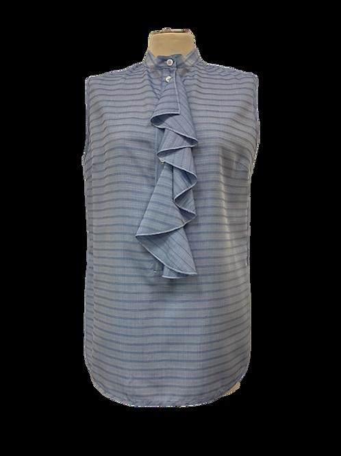 Camicia smanicata in seta con volant