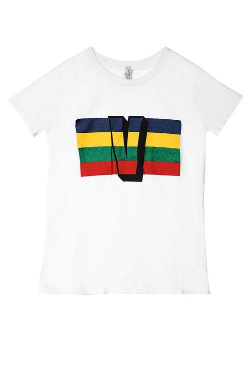 T-shirt bianca con stampa V