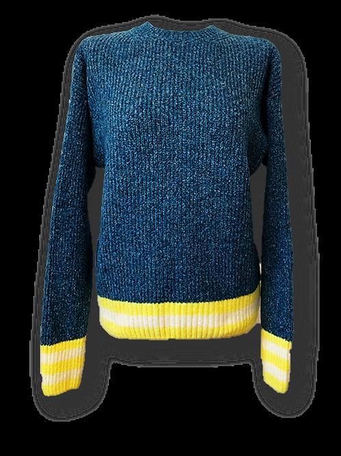 Maglione girocollo bicolore