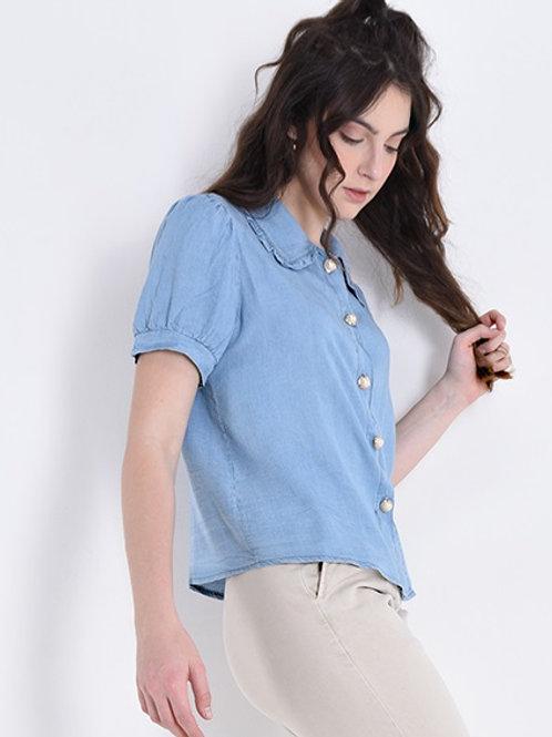 Camicia manica corta con bottone perlato