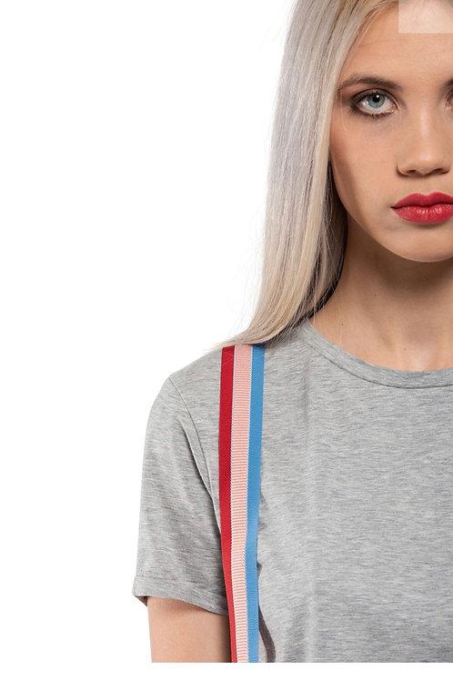 T-shirt girocollo con bretelle in gros grain