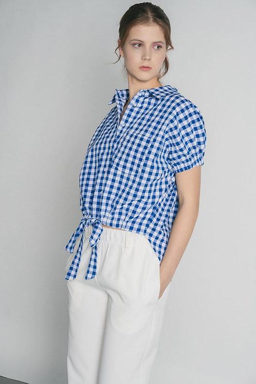 Camicia con nodo stampa Vichy BLU