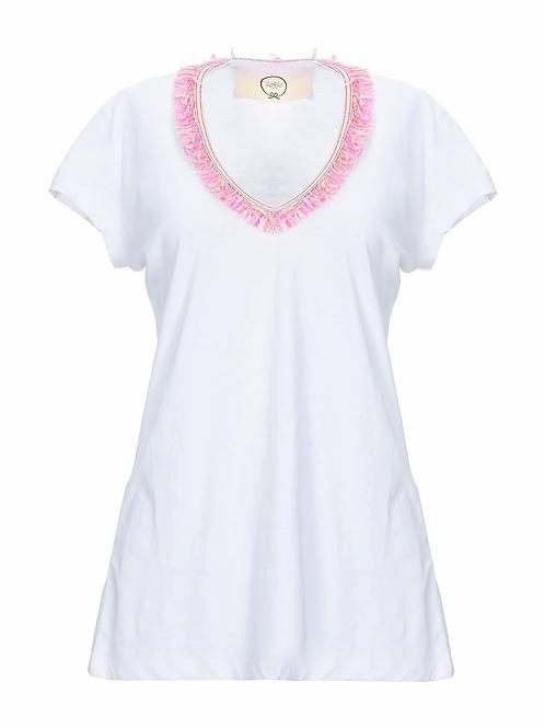 T-shirt scollo V frangine colorate