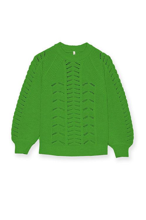 Maglione in cotone traforato VERDE