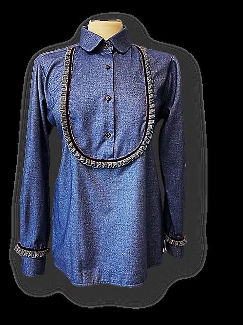 Camicia in flanella con bordi lana e velluto