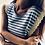 Thumbnail: Maglina a righe a costine con merletto