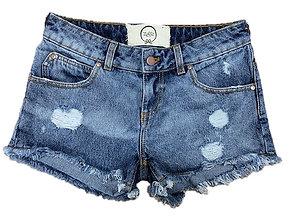Shorts in denim slavato