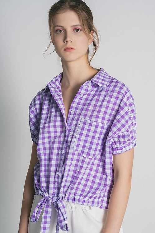 Camicia con nastro da annodare Vichy