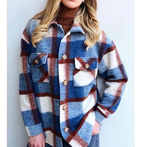 Cappotto camicione in lana