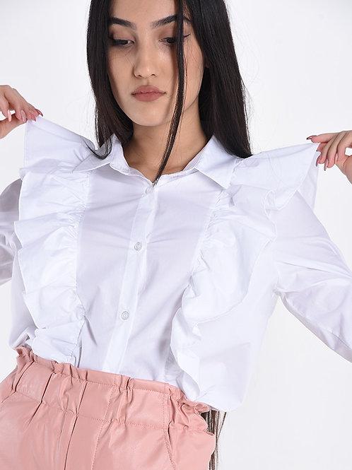 Camicia in cotone con volants